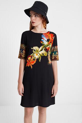 Vestido de viscose com mangas 3/4 Designed by M. Christian Lacroix
