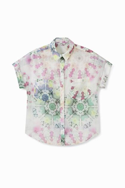 Kurze Bluse mit Muster in Pastellfarben