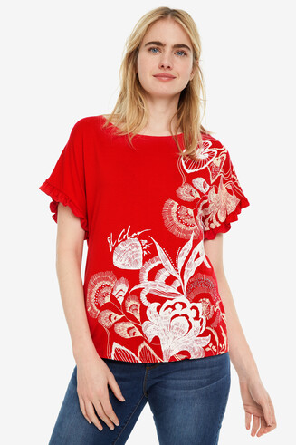 Red floral T-shirt Cherokees