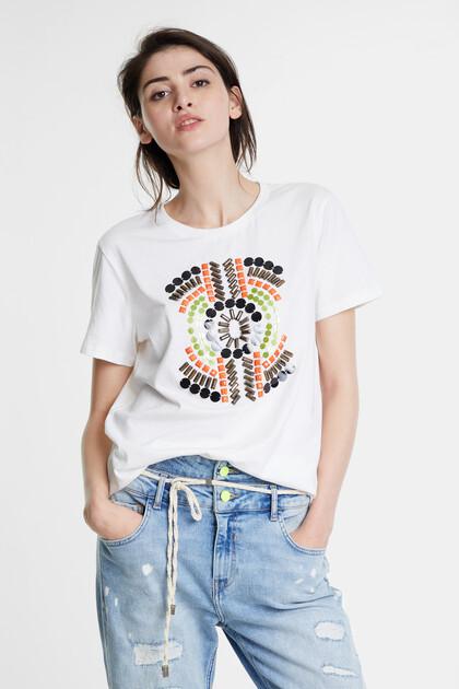 Geborduurd T-shirt met kraaltjes