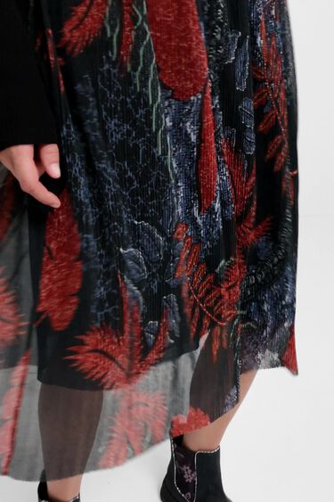 Falda midi plisada floral | Desigual