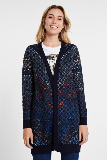 Fine knit open jacket