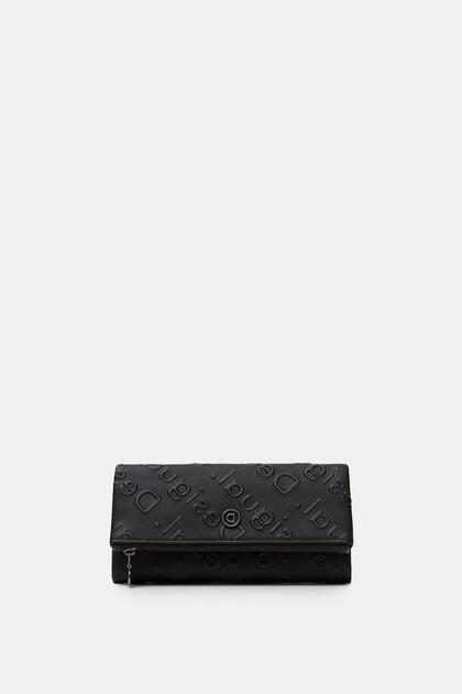 Rechthoekige portemonnee met logo in reliëf