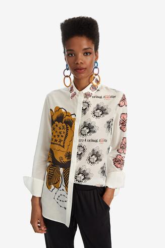 Seidenhemd mit Maxiflower-Print