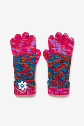 Gants en maille revers multicolore