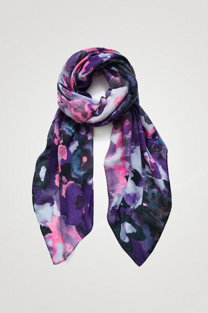 Rectangular foulard watercolour flowers