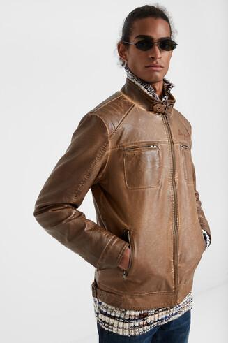 PU leather motard jacket