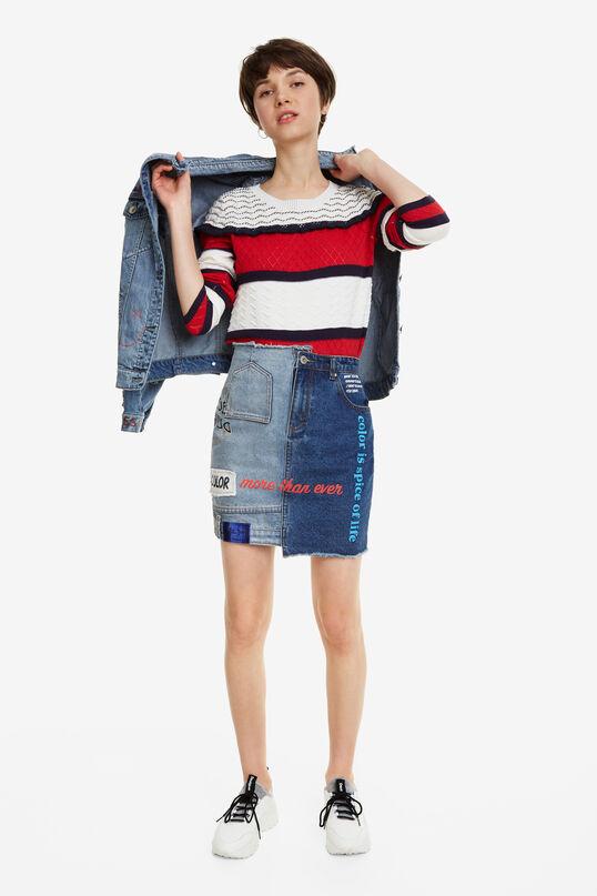 Slogans Short Denim Skirt Upside Down | Desigual