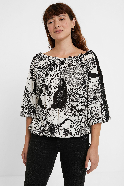 Blusa bianca e nera pizzo maniche | Desigual