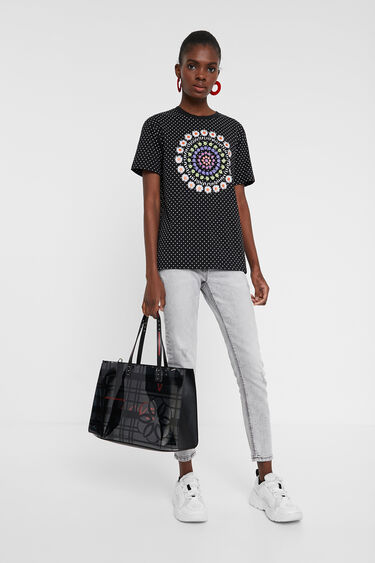 2 in 1 bag with grid and flower | Desigual