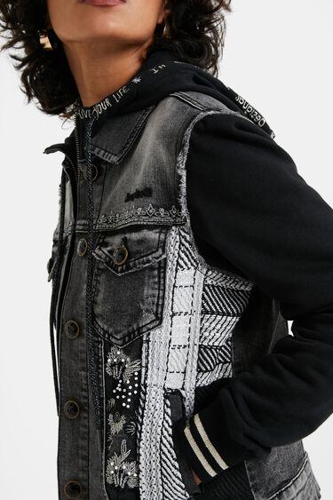 Bimaterial hooded trucker jacket   Desigual