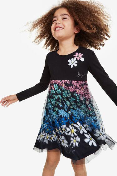 Vestido evasé capa gasa floral multicolor | Desigual