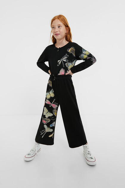 Cropped jumpsuit dragonflies