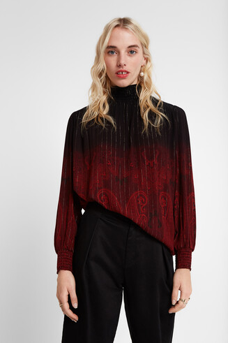 Loose paisley and Lurex blouse