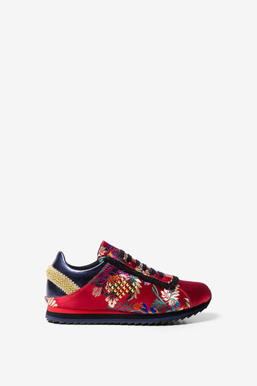 Embroidered satin sneakers   Desigual