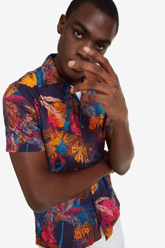 Camisa tropical de cuello abierto Kles