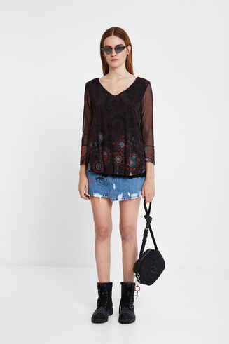 Multilayer flounced T-shirt