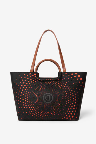 Bag with logo and geometric spiral