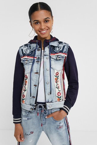 Denim and plush trucker jacket