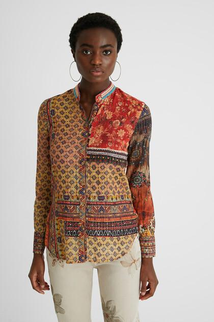 Etnische blouse met V-hals