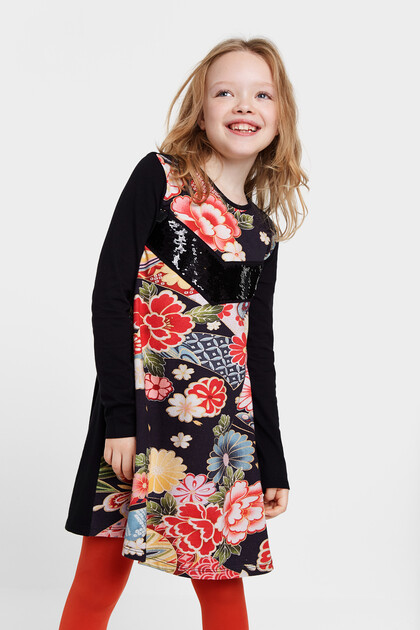 Floral dress reversible sequins