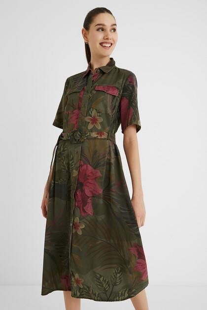 Robe longue chemise tropicale