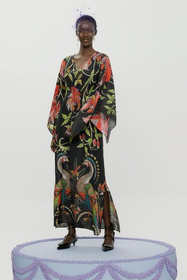 Long loose 3/4 wide sleeve dress | Desigual