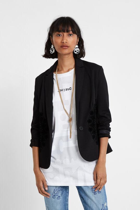 Black Embroidered Blazer | Desigual