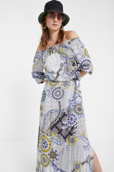 Long flared geometric and floral dress | Desigual