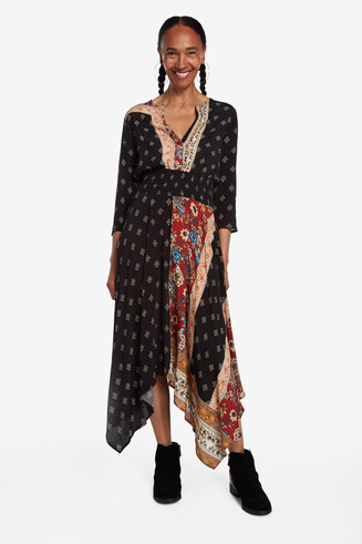 Long asymmetric patchwork dress