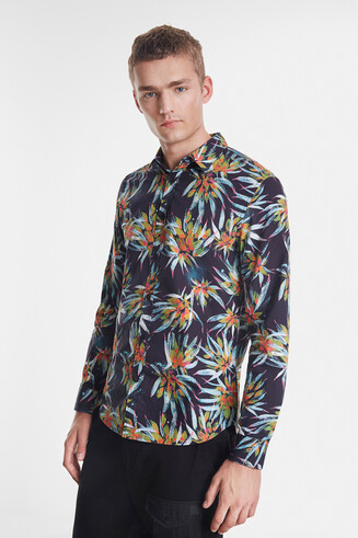 Shirt met tropische bloemenprint
