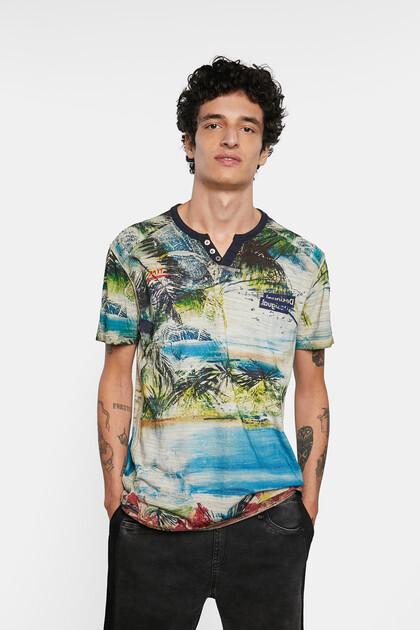 Tropical T-shirt mandarin collar buttons