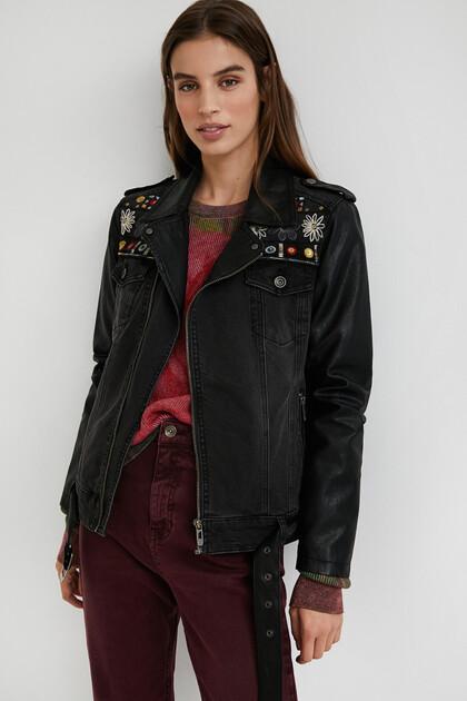 Slim denim biker jacket