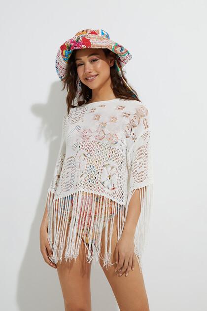 Crochet jumper and fringe