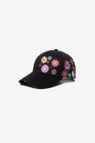 Embroidered black cap