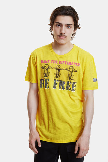 Marbled yellow T-shirt with message | Desigual