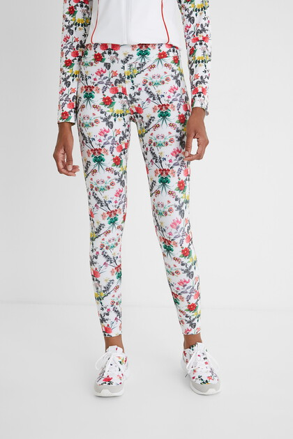 Knöchellange Slim Fit-Leggings mit Blumen