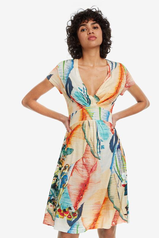Robe col V et print arty Luana | Desigual