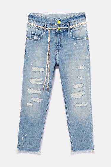 Spodnie dżinsowe o kroju boyfriend z podwójnym pasem | Desigual