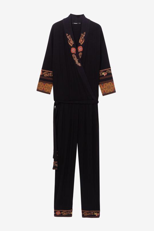 Czarny kombinezon z ornamentami geometrycznymi w etnicznym stylu | Desigual
