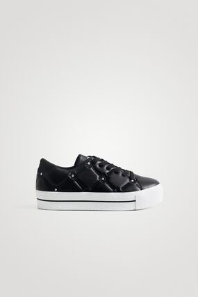 Sneakers simili cuir broderie petits sequins