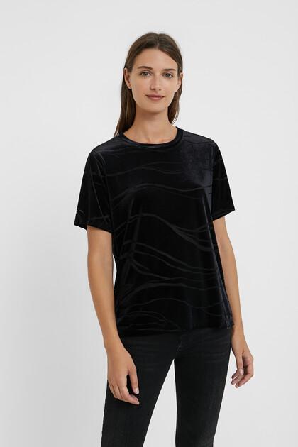 T-shirt marbré façon velours