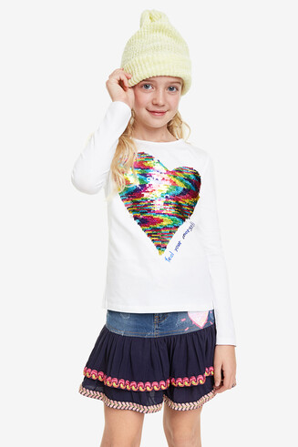 Reversible sequins heart T-shirt