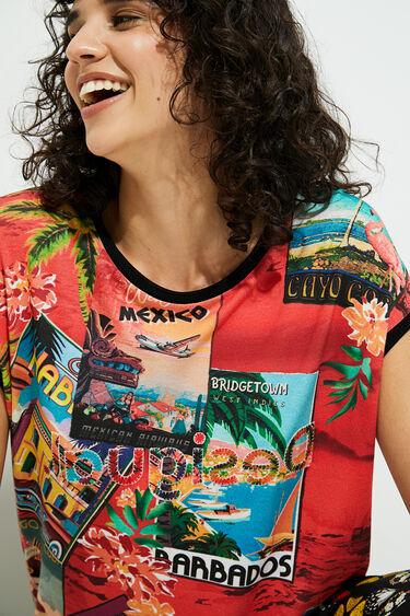 T-shirt met korte mouwen en ansichtkaarten | Desigual