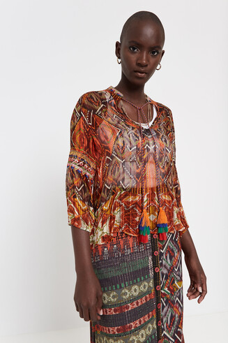 See-through Boho print blouse