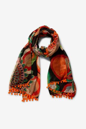 Rectangular afro print scarf