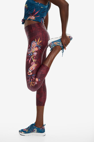 Side floral patch leggings