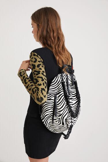 Zebra-print leather backpack | Desigual