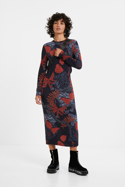 Slim knit floral dress