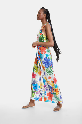 Long and floral beach dress